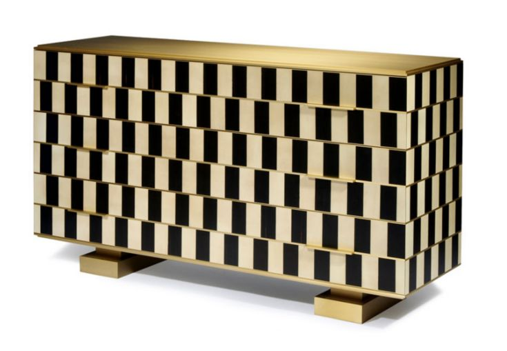 Op-art: Chest of drawers Design by Hervé Langlais at Galerie Negropontes Paris