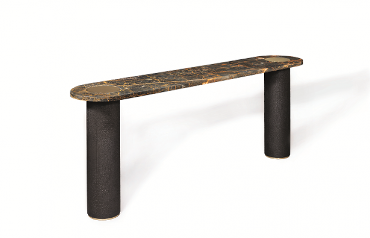 Gaia: Console of port laurent marble top, wood & brass. Design by Galerie Negropontes.