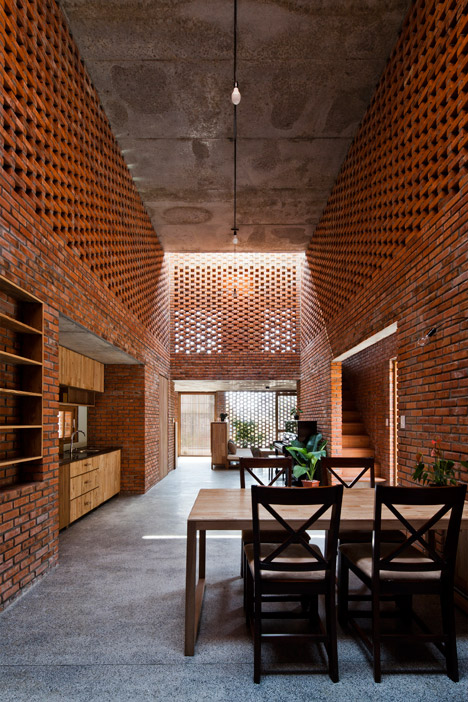 Interior view from the dinning of The Termitary House refurbishment by Architectural Studio Tropical Space in Vietnam as seen in www.dezeen.com/ Photo credit: Oki Hiroyuki .