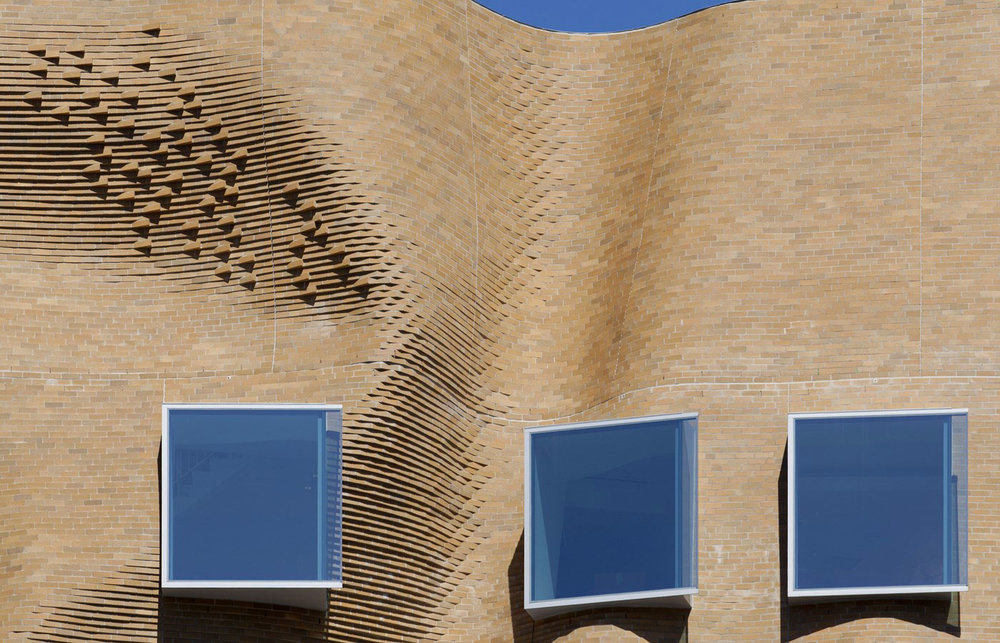 Close up of Dr Chau Chak Wing Building in the campus of the University of Technology in Sydney by Frank Gehry in Australia as seen on www.yellowtrace.com.au