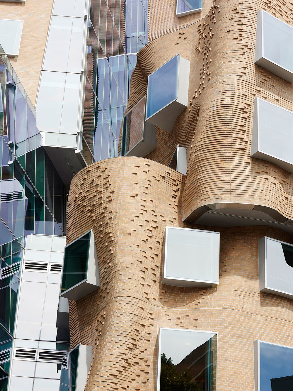 Façade of Dr Chau Chak Wing Building in the campus of the University of Technology in Sydney by Frank Gehry in Australia as seen on www.yellowtrace.com.au
