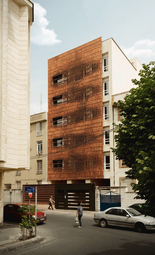 Front façade of the Cloaked in Bricks by Admun Design & Construction Studio as seen on www.archdaily.com