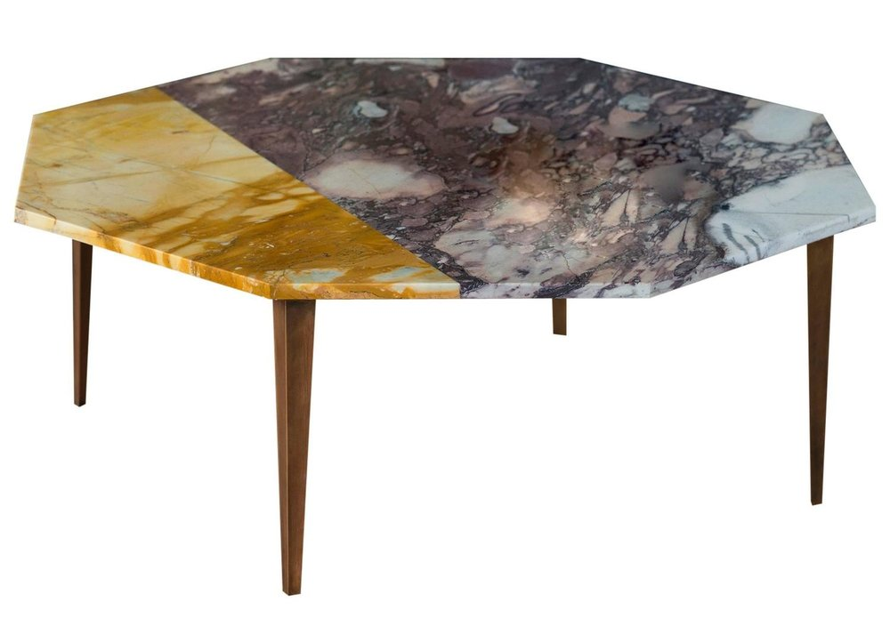 Tables: Marble & brass coffee table by Thierry for Campbell-Rey.