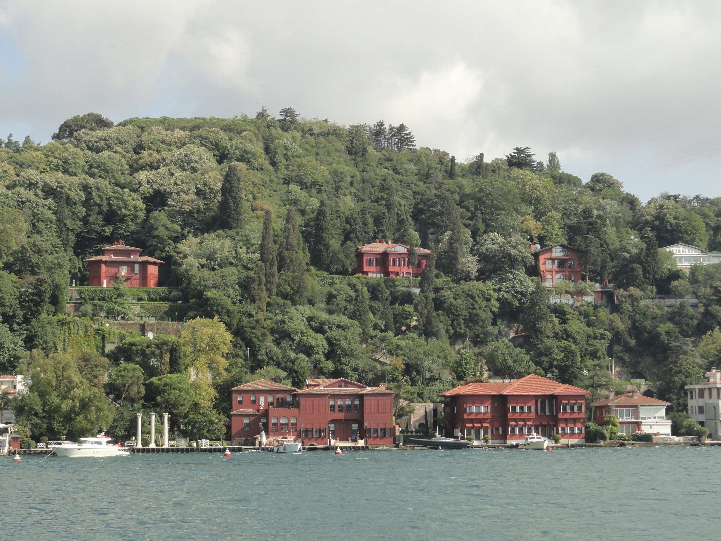 According to our guide, the property along the Bosphorous is some of the most expensive in the world. The person who owns all 5 red houses here paid over a  BILLION US dollars!