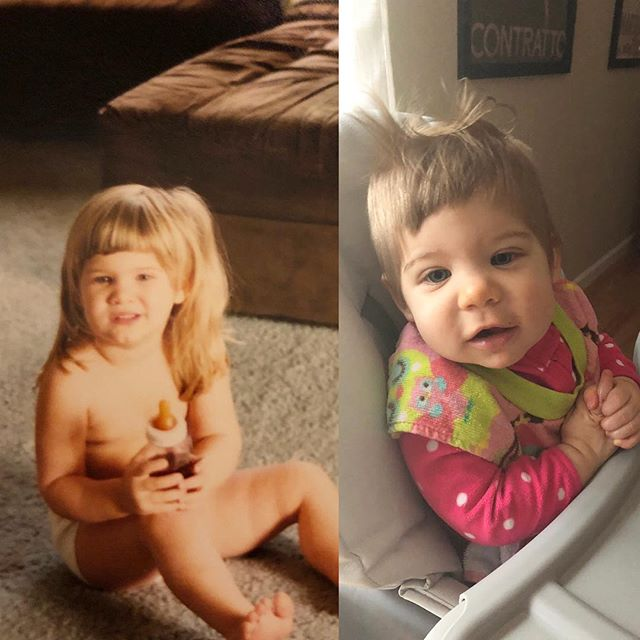 Who wore it better? While she still might look exactly like Jeff, she rocks a terrible haircut and jagged bangs just like me 🙏🏻 thanks @wendyandscottlesniak for really setting the bar high... 😂#mammasgirl #justasnipisaid #badhairdontcare #bangsfordays #westillcutetho