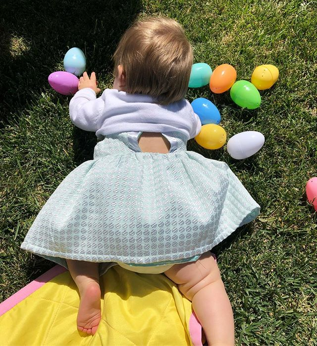 OK for real though it was the best Easter ever! We had so much fun  celebrating with friends yesterday - thank you so much for the lovely day @kimmiepozzan and being the best Easter bunny @danterawk - and had awesome family time today @san.ran.rip.luv @bryanmccarver We feel so beyond thankful for all the love (and eggs) surrounding this little chunky bundle of joy! #alltheeggs #daddysgirl #thosethighstho #buddiessincebirth @blingallss