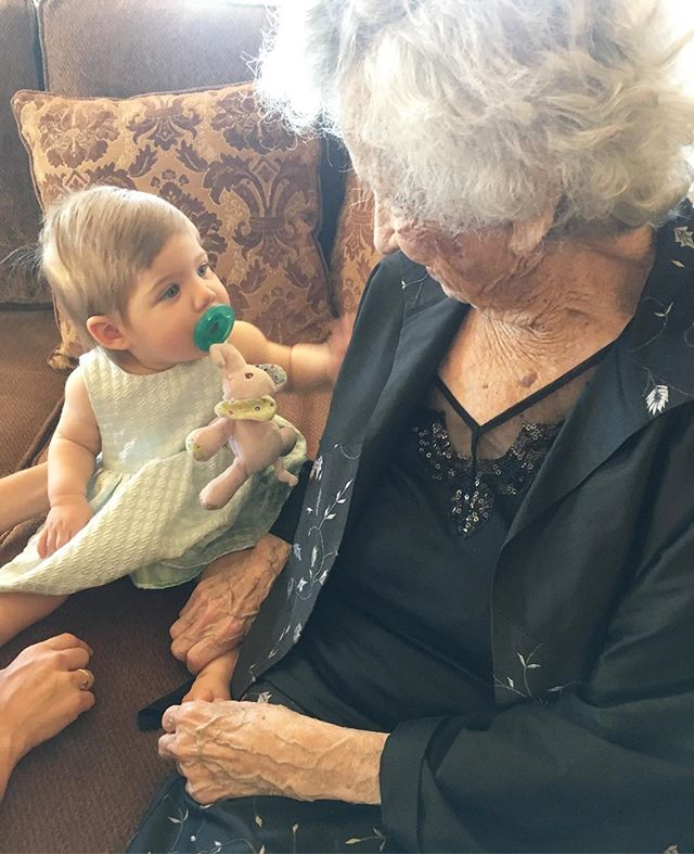 Great great grandma sharing timeless unspoken wisdom with Indi girl ❤️ 96.5 years apart in age, yet the blood, love and strength that runs through both their veins connects them through the generations. #goodgenes #strongwomenraisestrongwomen #family #easter #threegenerations PS: nice photo bomb @san.ran.rip.luv 😂