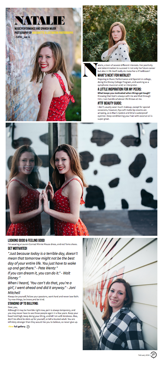 She is getting noticed! Natalie was featured on #TTF Magazine as a Teen Trailblazer!  A I P | Senior Natalie