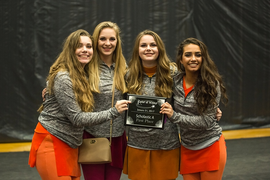 The Guard takes 1st place in their first competition! - Pictured are seniors Bella, Taylor, Joesie, and Savannah. Lawrenceburg, Tn.
