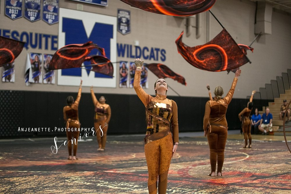 Arizona marching band color guard Peoria Az winterguard DCI drum corps WGI ABODA WGAZ senior grad pictures by Anthem Az high school portrait photographer Anjeanette Photography Phoenix desert vista