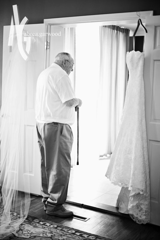 I love this picture of Ashley's granddad looking at her dress. <3