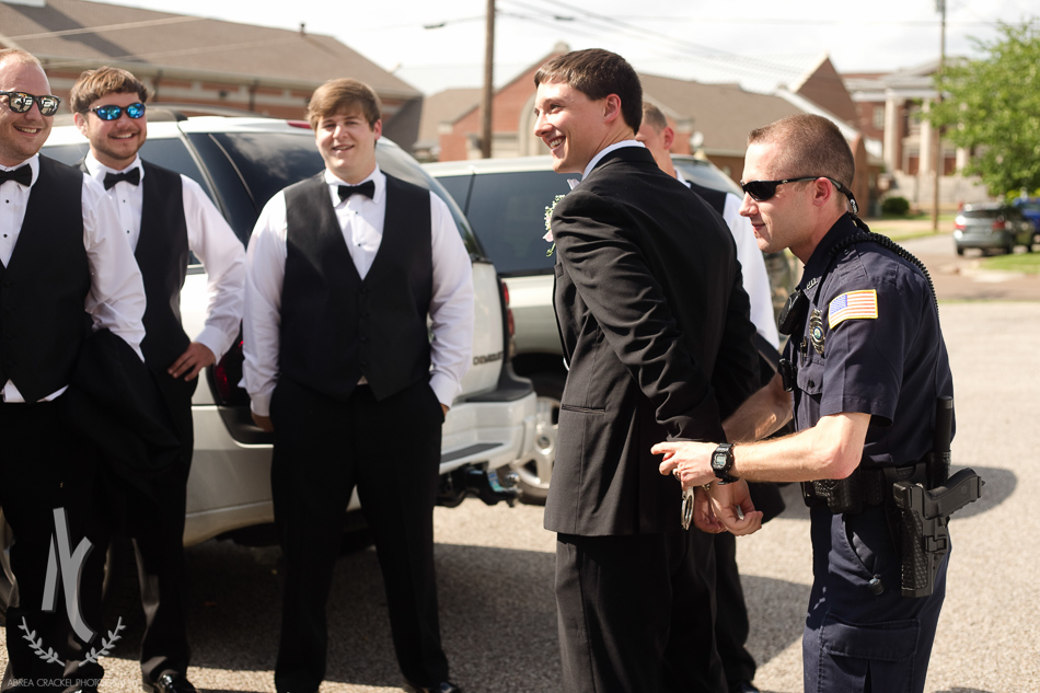 "Some of the groomsmen arranged a little ""arrest"" of the groom.."