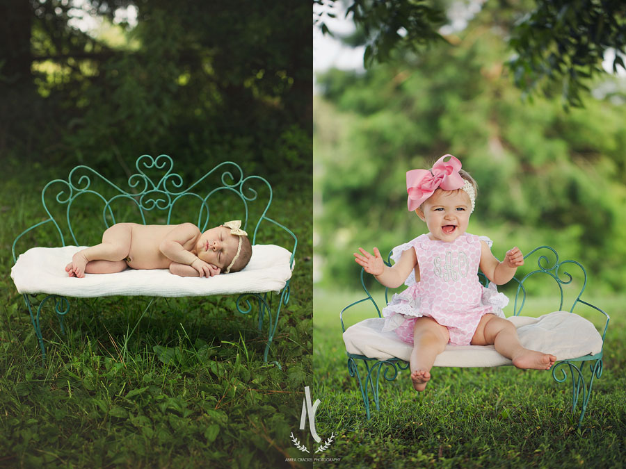 Little Gracelyn at her newborn session, and a year later!