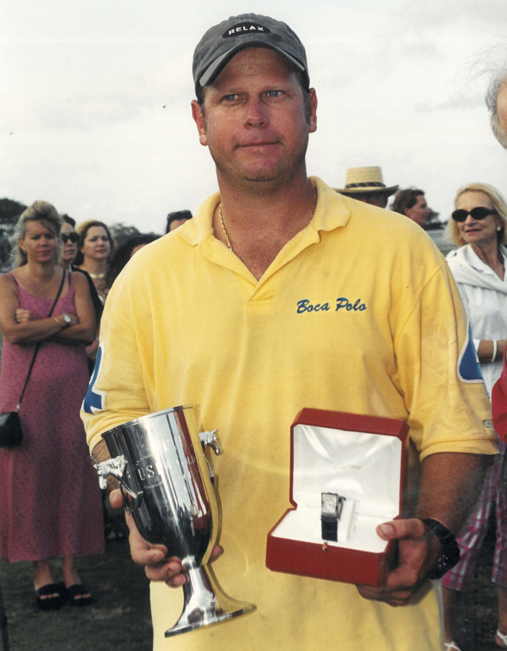 Joey receiving MVP award 2001 USPA Gold Cup