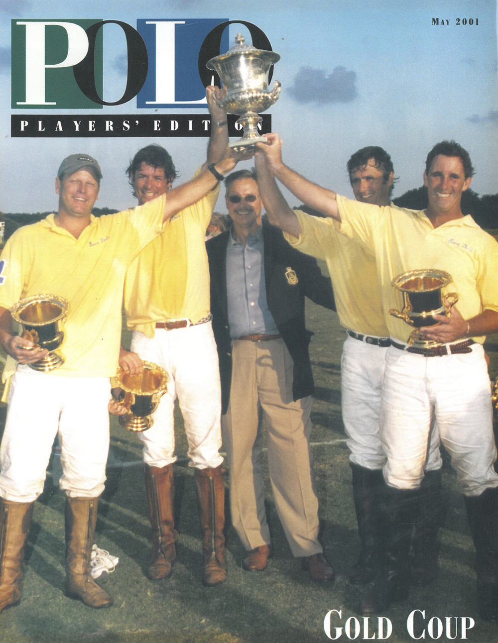Joey Casey, Juan Bollini, Juan Badiola, Charlie Muldoon and David Cummings presenting USPA Gold Cup trophy to the winners
