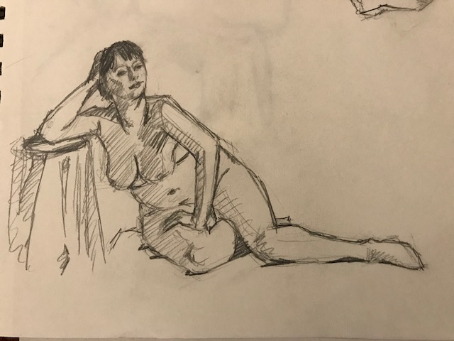 This is one of the figure drawings from the Croquis Cafe, a free online figure drawing resource.  I've been drawing from it almost every day.  This was today's best effort.