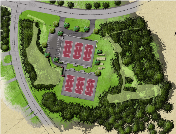 Tennis courts on River Road.