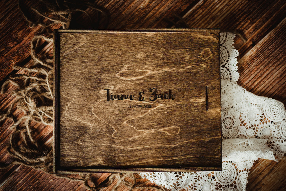 Wooden Album Box - Made to perfectly fit and safely store your album and USB. Custom engraved and built to last a lifetime.from $140
