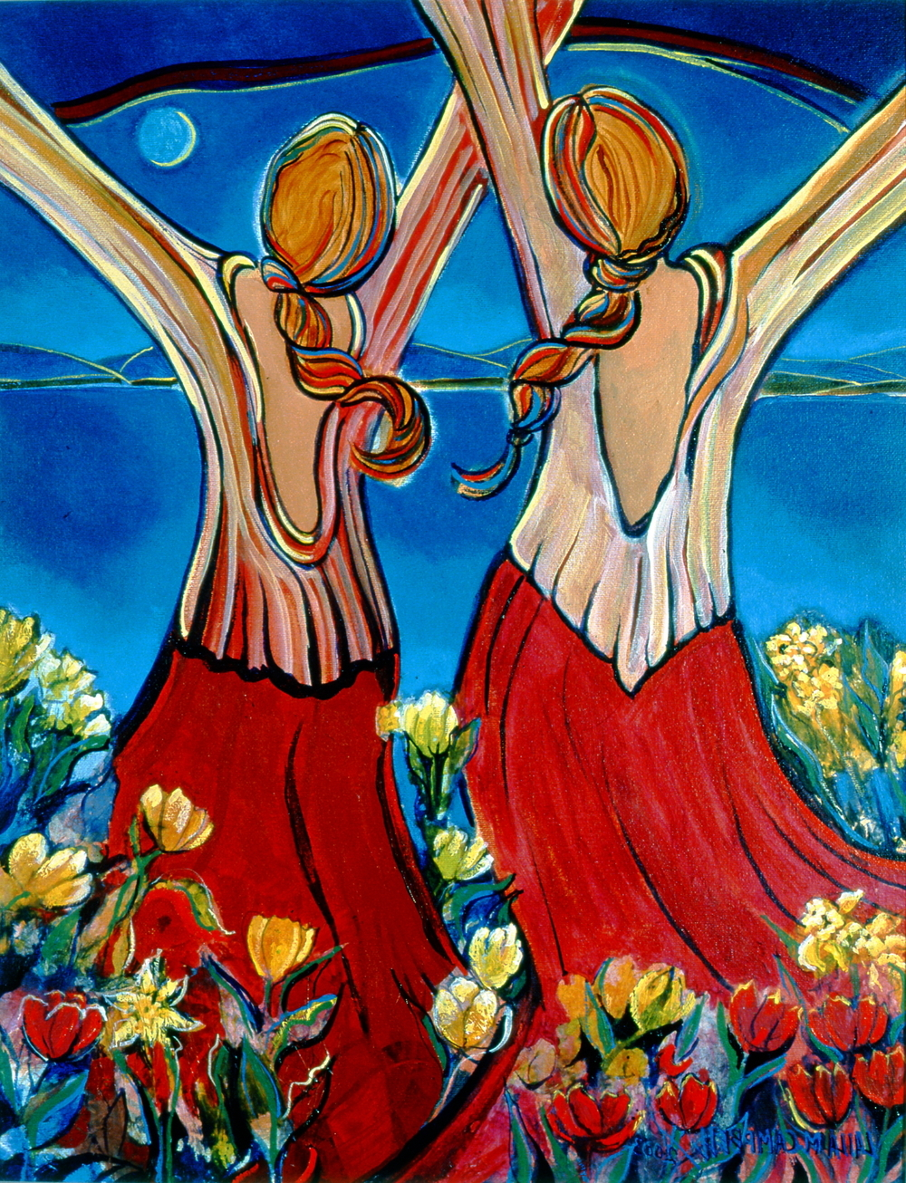 Spring Dancers , 2003, Laila M. Campbell, acrylic and tissue paper on canvas, 45 cm x 35 cm, 2003.01.01. Gift of the artist.