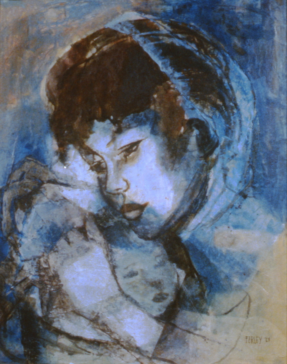 Madonna, 1968, Muriel Ferley, acrylic collage, 30 cm x 39.5 cm, 1968.01.02,  gift of an anonymous Art Club member