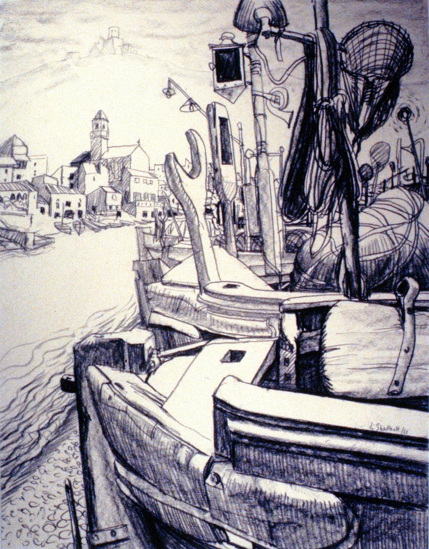 Boats, Jack Shadbolt, ink on paper, 971.01.01