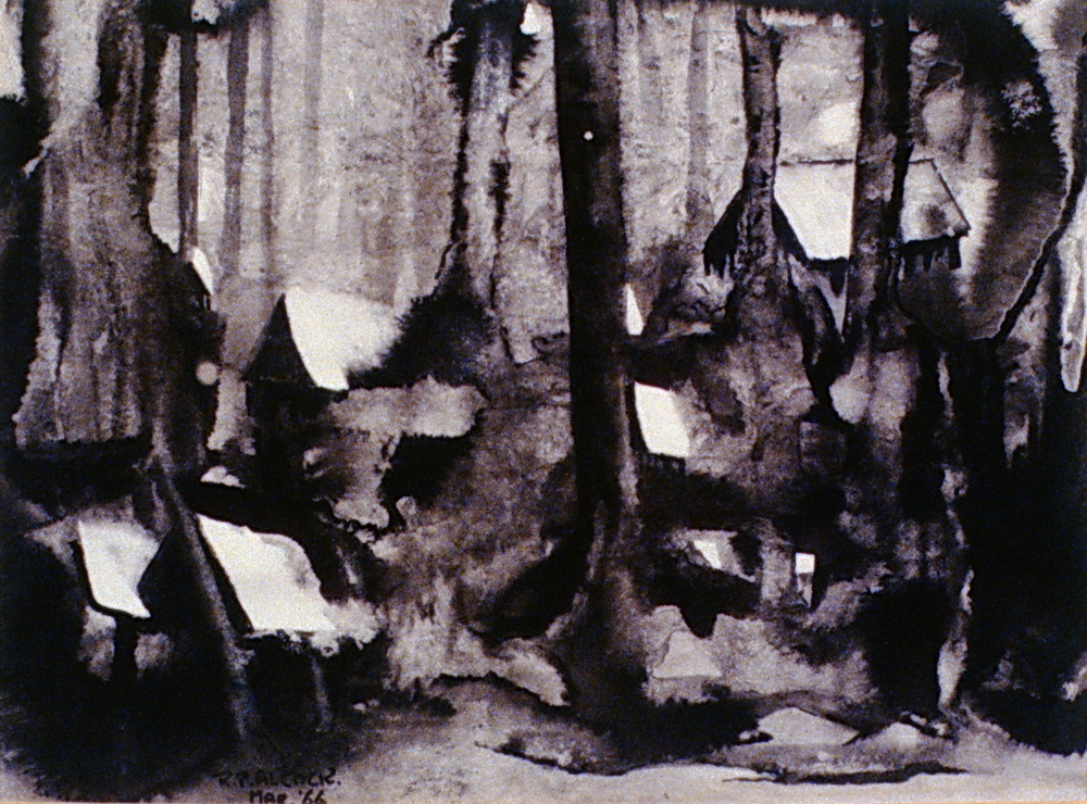 Lumber Camp, 1966, Mac Alcock, ink wash, 23x16.5 cm, 1972.01.01, gift of the family of Mac Alcock
