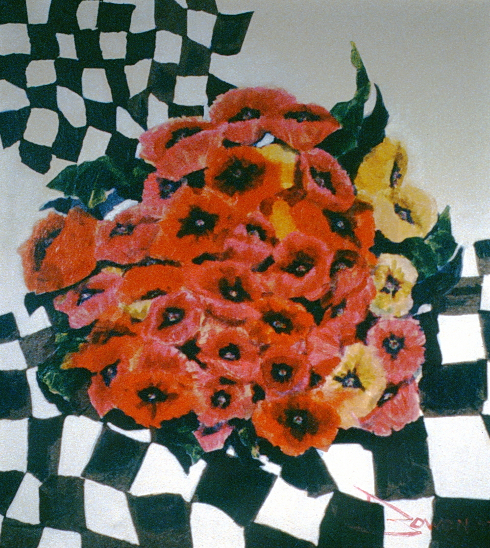 Poppies and Checks, 1973, Audrey Owen, acrylic collage, 86.5 cm  x 96 cm, 1973.01.01, gift of an anonymous Art Club member