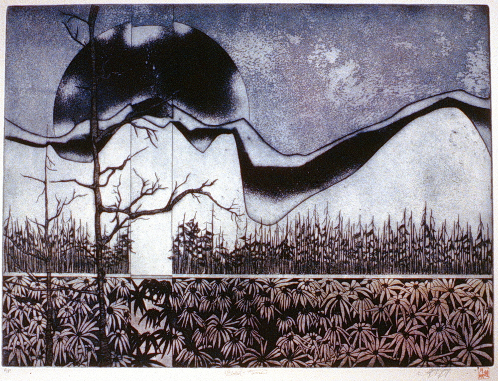 Stolen Time , n.d., Mary Jong ,  etching, 45 cm x 60.5 cm, 1980.02.02, purchase made possible through the support of Casabello Wines Ltd. and the Canada Council for the Arts
