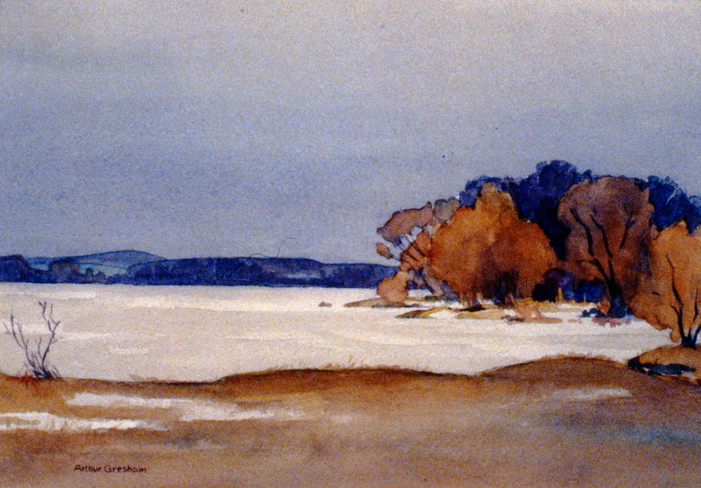 Near Lake Simcoe , n.d., Arther Gresham, watercolour on paper, 36.3 x 44 cm, 1980.03.01. Gift of Mr. and Mrs. Evan Mitchell.