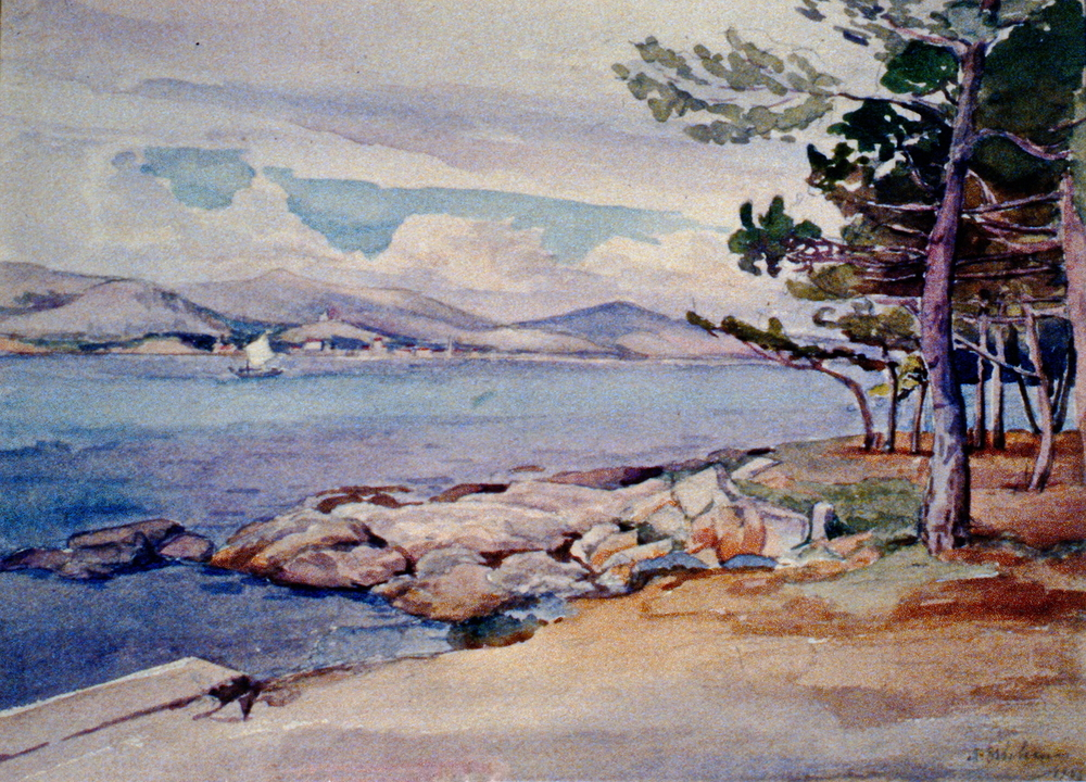 Yugoslavia, Bay of Catarro , 1945, Mary Orbeliani, watercolour, 983.03.02