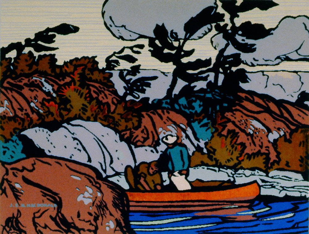 "Untitled (The Red Canoe) , 1931, J.E.H. MacDonald, serigraph, 4.75"" x 5.75"", 1984.01.01. Part of Sampson-Matthews Serigraph Miniatures Collection"