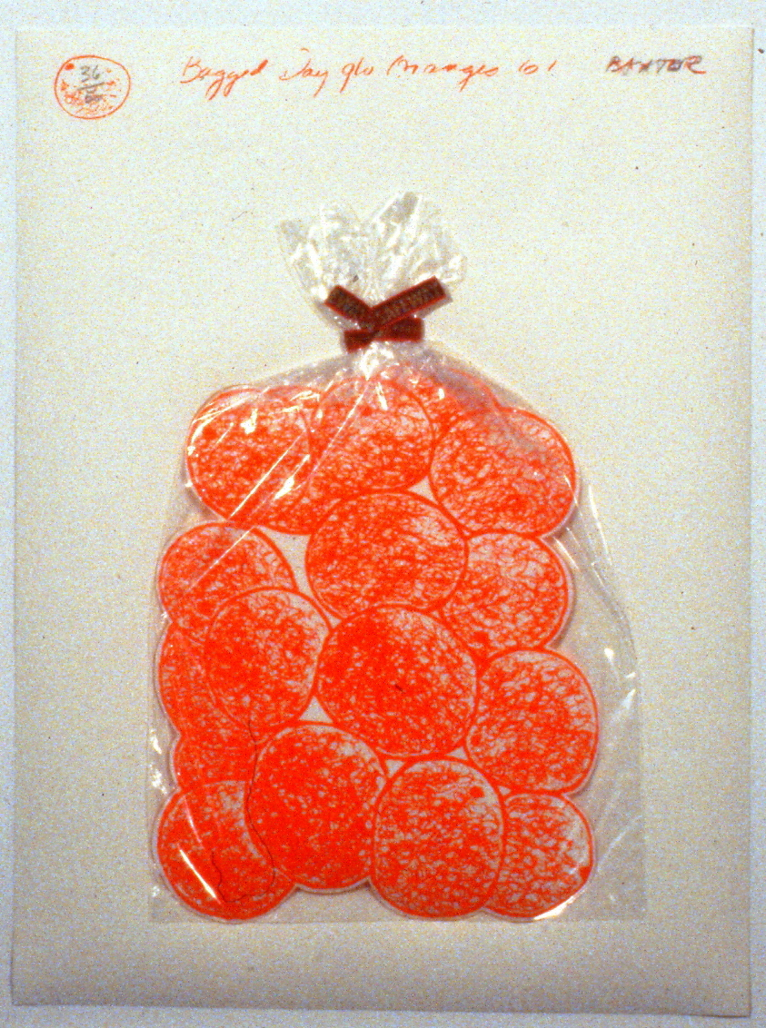 "Bagged Day-glo Orange , 1967,  Iain Baxter, serigraph, edition 36/50, 15"" x 20"", 1985.03.05. Simon Fraser Centennial Suite Donation. Gift of Jessie Binning."