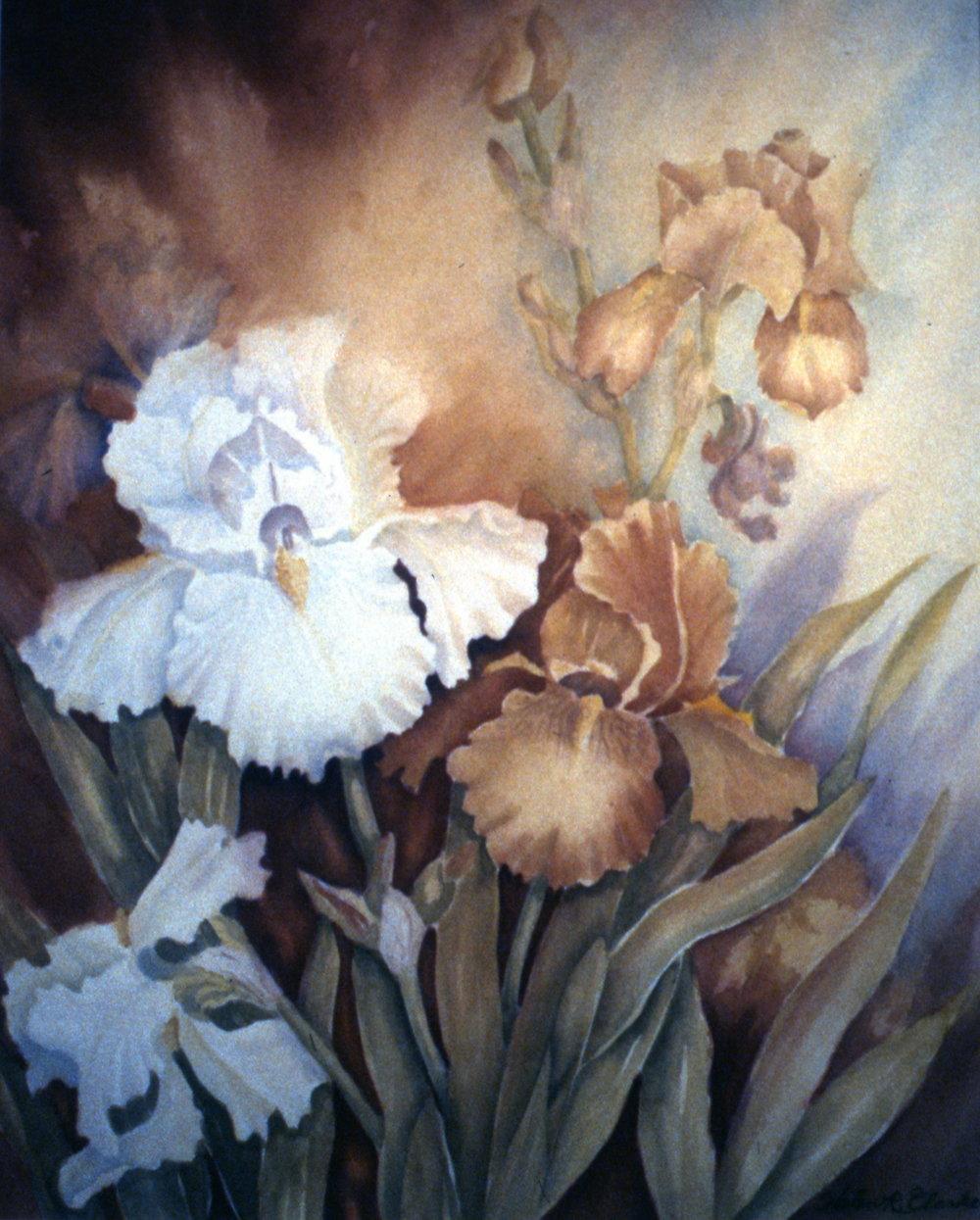 """Garden Nymphs, 1985, Helen R. Clarke, watercolour, 24"""" x 28"""", 1985.04.01. Gift of the artist."""