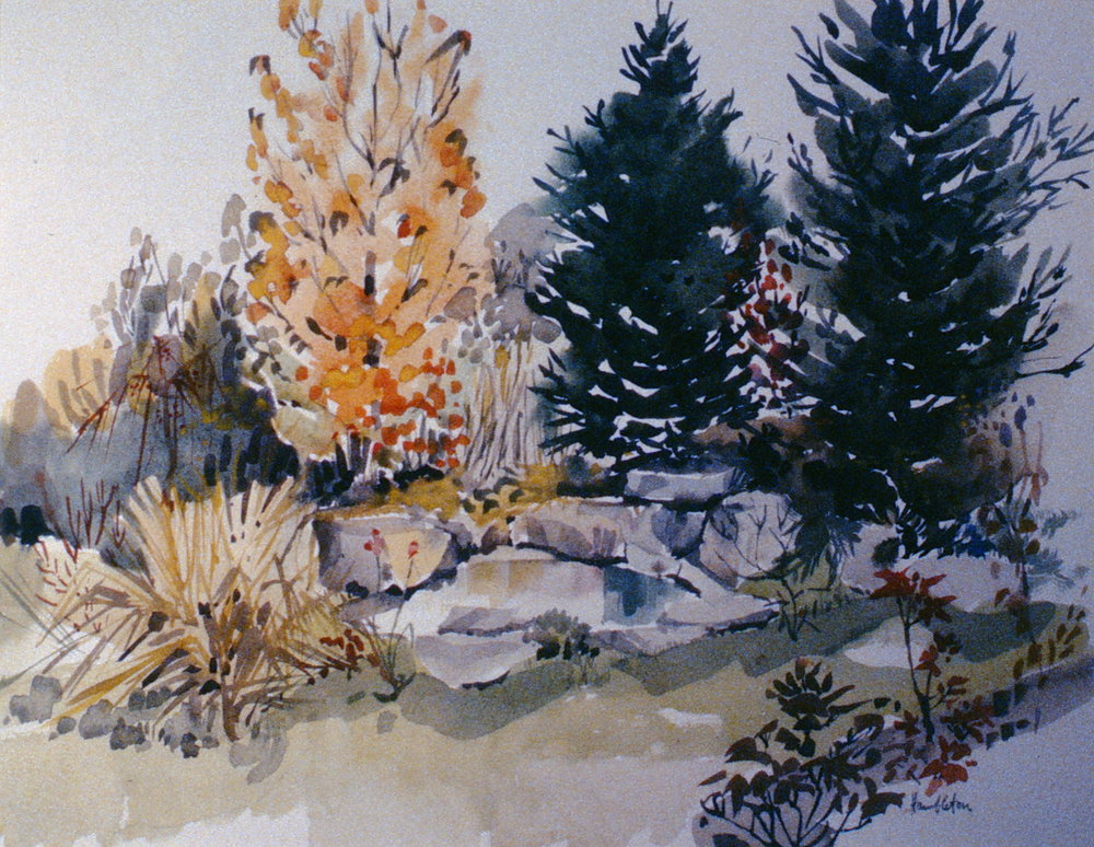 A Corner of the Garden , 1964, Jack Hambleton, watercolour on paper, 39 x 52 cm, 1987.01.02. Gift of Mrs. Ernestine Lamoureux.