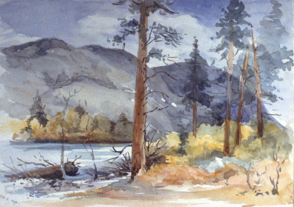 Untitled (Looking East from Ashnola), 1895, Julia Bullock-Webster, watercolour on paper, 25.2 x 34.8 cm, 1983.02.03. Gift of Mrs. Barbara Steel.