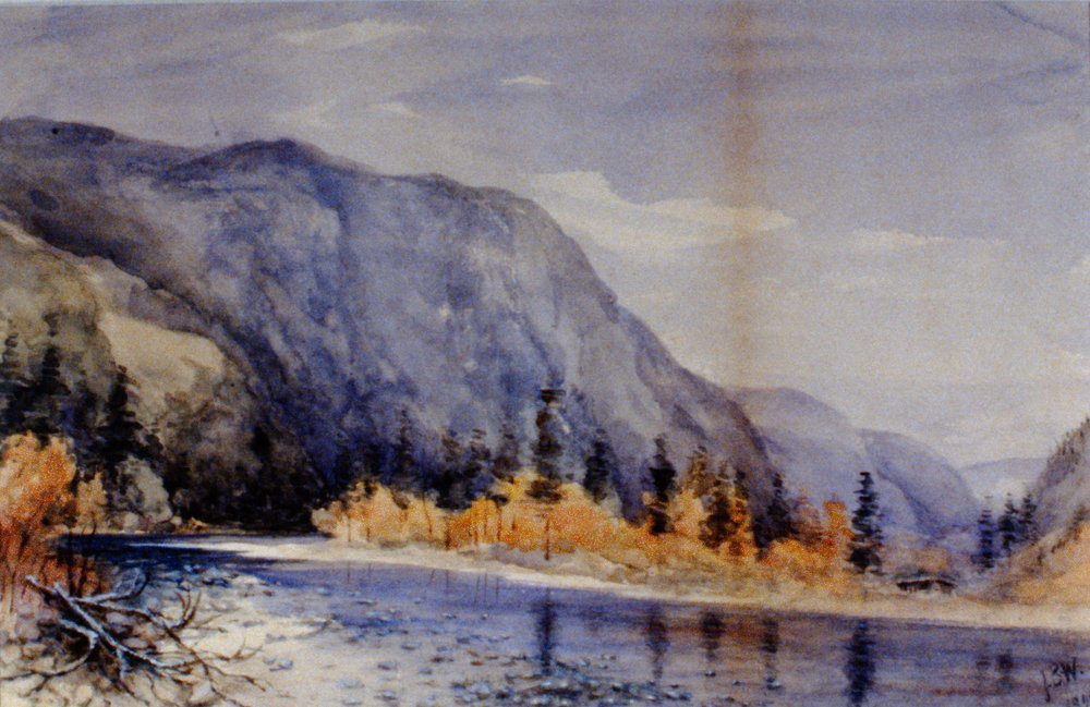 Untitled (Similkameen River Coming from Left), 1895, Julia Bullock Webster, watercolour on paper, 25.2 x 35.3 cm, 1983.02.07. Gift of Mrs. Barbara Steel.