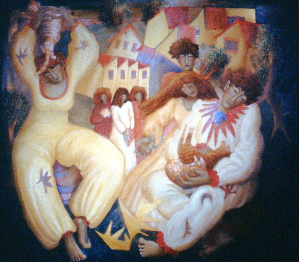 "For Special Friends , 1985, Francine Gravel, oil on canvas, 49"" x 54"", 1987.03.01. Gift of the artist."
