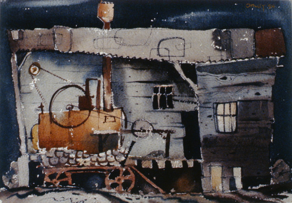 "The Juice Factory,  1954, Toni Onley, watercolour on paper, 11"" x 15 1/2"", 1989.01.01. Gift of William Guerrard."