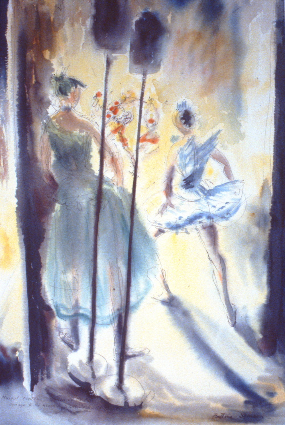 Margot Fonteyn (Homage to the Queen),  c. 1953, Bettina Somers, watercolour and ink on paper, 58 x 39 cm, 1990.01.02. Gift of the artists' estatec/o Mike & Gwen Calverley.