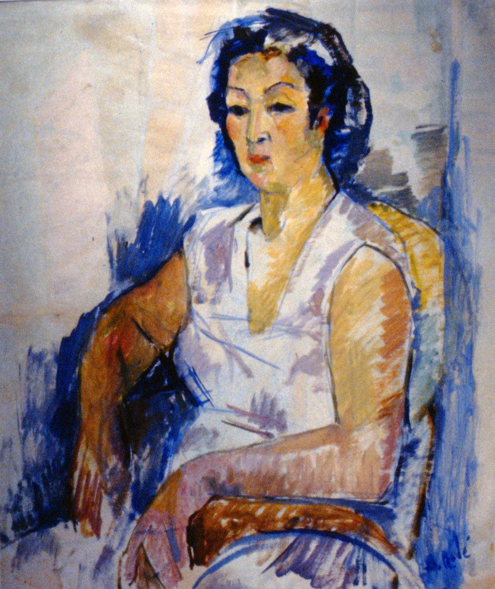 "Mrs. Yamamoto,n.d., Barbara (Zouzouline) Rodé, oil on paper, 36""x28"", 1992.02.01"