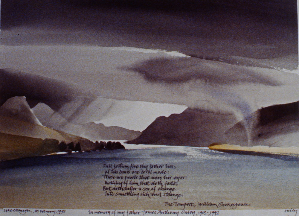 "Lake Okanagan - ""In Memory of My Father James Anthony Onley, 1903-1992"" , 1992, Toni Onley, watercolour on paper, 1992.03.01"