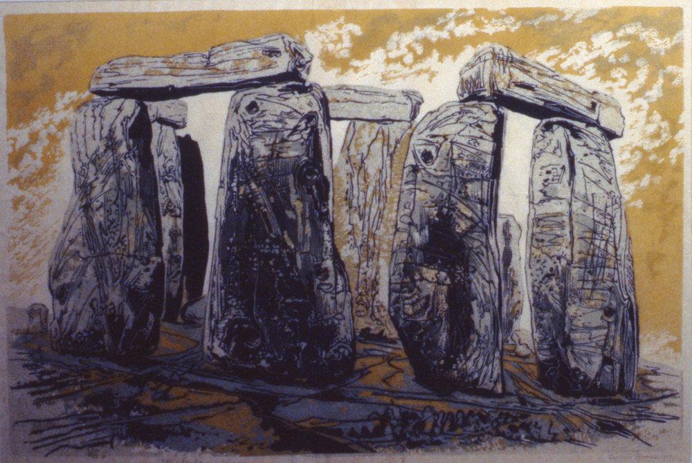 Stonehenge, 1947, Gertrude Hermes,linocut on paper, 1993.01.01