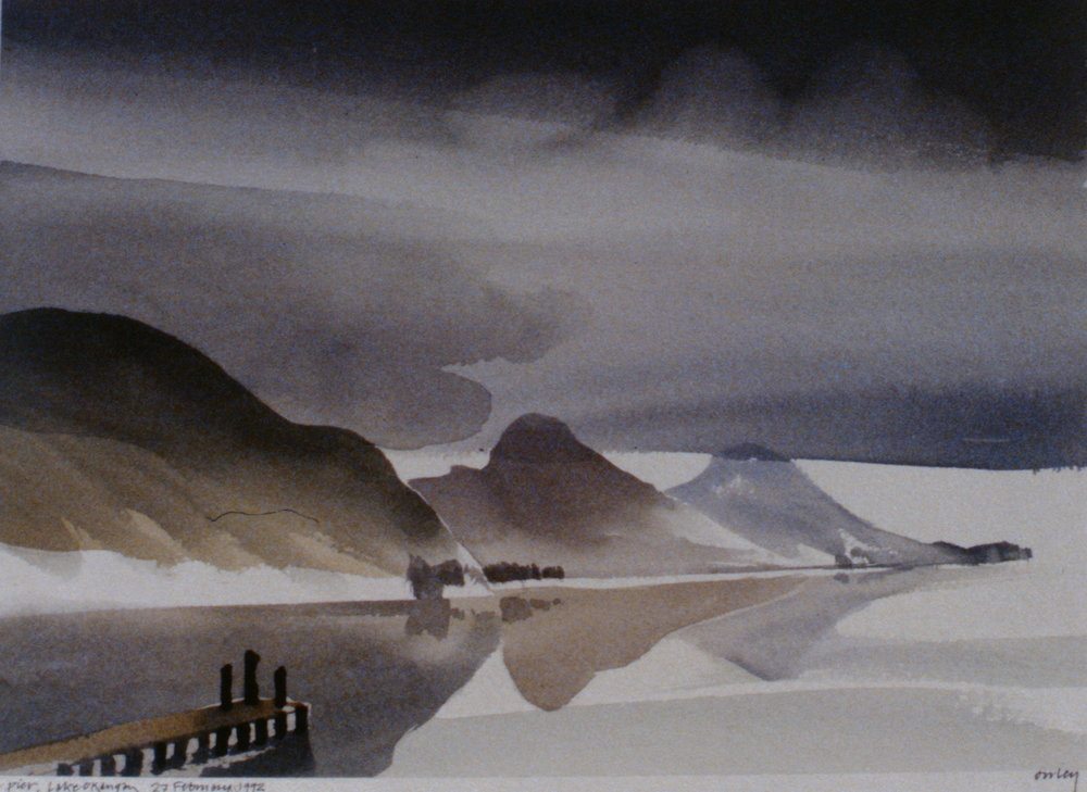 Pier, Lake Okanagan , February 27th, 1992, Toni Onley, watercolour on paper, 27.2 x 37.7 cm, 1994.15.03. Gift of the artist.