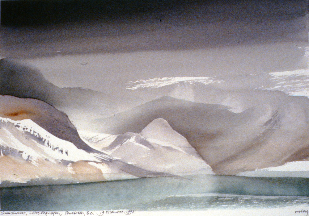 Snow Shower, Lake Okanagan , December 19th, 1992, Penticton, Toni Onley, watercolour on paper, 27.2 x 37.7 cm, 1994.15.05. Gift of the artist.