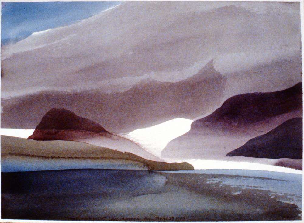 Trout Creek Point, Lake Okanagan , April 23, 1985, Toni Onley, watercolour on paper, 27.2 x 37.7 cm, 1994.15.07. Gift of the artist.