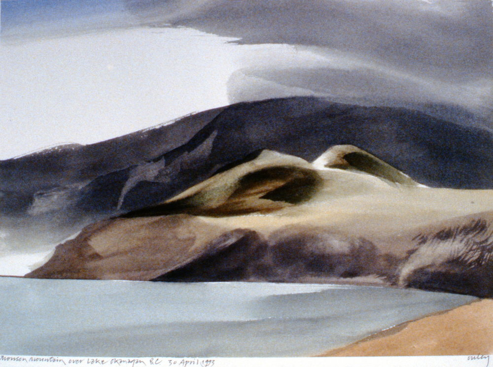 Munson Mountain over Lake Okanagan , April 30th, 1993, Toni Onley, watercolour on paper, 27.2 x 27.7 cm, 1994.15.09. Gift of the artist.
