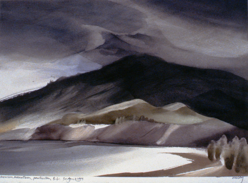 Munson Mountain, Penticton, BC, April 30th, 1993, Toni Onley, watercolour on paper, 27.2 x 37.7 cm, 1995.15.10. Gift of the artist.