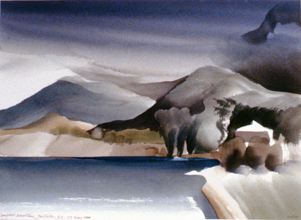 Campbell Mountain, Penticton , May 27th, 1988, Toni Onley, watercolour on paper, 27.2 x 37.7 cm, 1994.15.12. Gift of the artist.