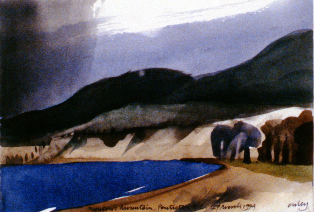 Munson Mountain, Penticton , March 27th, 1994, Toni Onley, watercolour on paper, 13.7 x 20 cm, 1994.15.15. Gift of the artist.