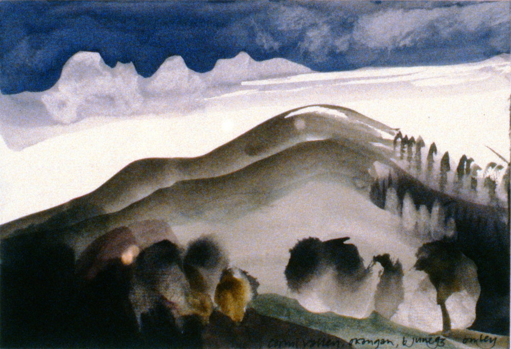 Carmi Valley, Okanagan , June 6th, 1993, Toni Onley, watercolour on paper, 13.7 x 20 cm, 1994.15.17. Gift of the artist.